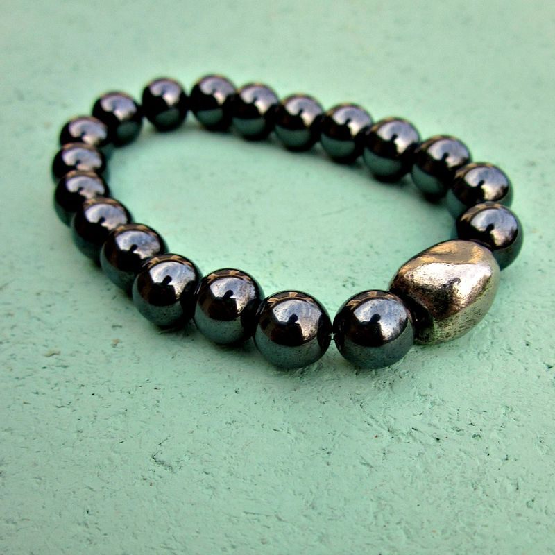 Dark Silver Hematite Unisex Beaded Stretch Bracelet with Silver Pebble Accent: Samsa - product images  of