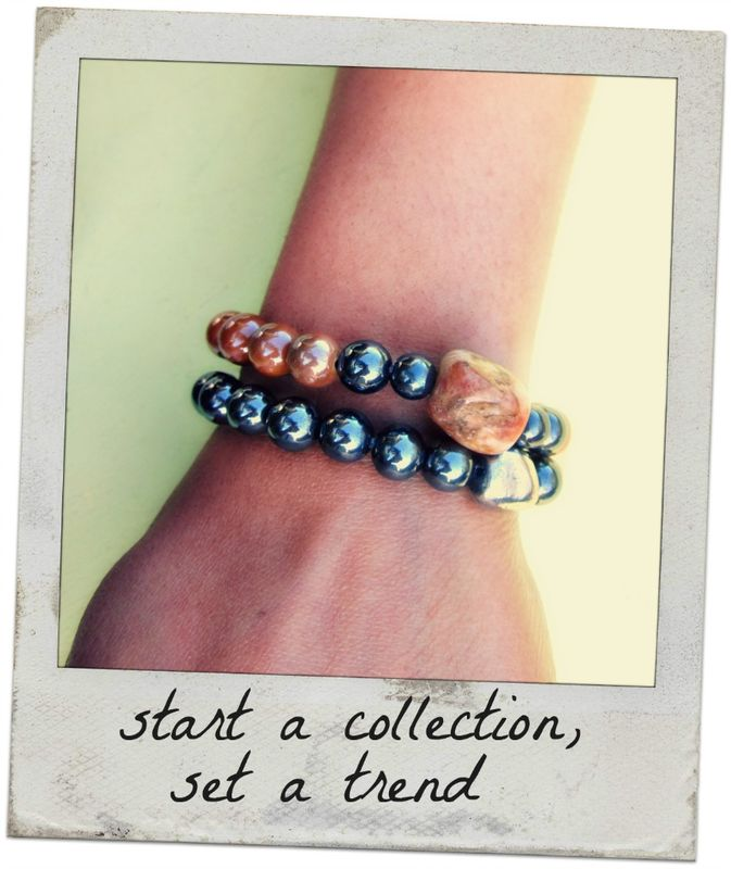 Iridescent Caramel Ceramic and Hematite Unisex Beaded Stretch Bracelet with Natural Stone Accent: Blair - product images  of