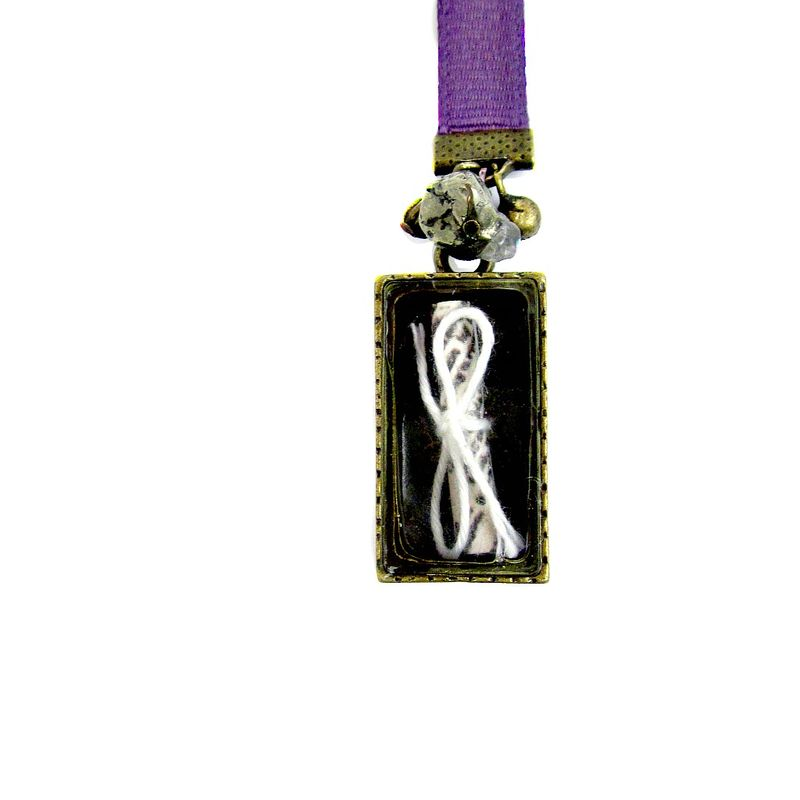 Purple Grosgrain Ribbon Bookmark with Encased Scroll Charm and Bead Accents: Arc - product images  of