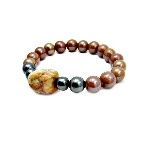 Iridescent,Caramel,Ceramic,and,Hematite,Unisex,Beaded,Stretch,Bracelet,with,Natural,Stone,Accent:,Blair,handmade hematite and ceramic beaded bracelet, brown bracelet, hematite stretch bracelet, non magnetic hematite stretch bracelet, stacking bracelet, stone bracelet