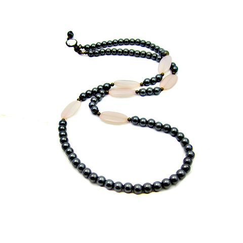 Long,Natural,Hematite,and,Blush,Acrylic,Lozenge,Beaded,Convertible,Necklace:,Phoebe,handmade hematite necklace, non magnetic hematite jewelry, dark silver and pink necklace, long convertible beaded necklace, beaded hematite necklace