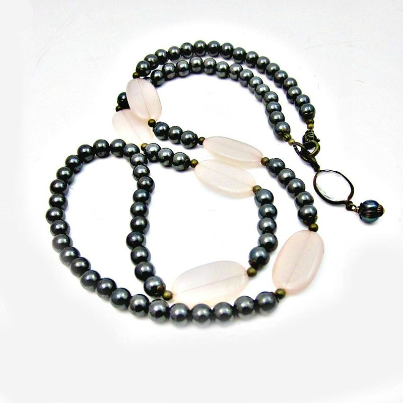 Long Natural Hematite and Blush Acrylic Lozenge Beaded Convertible Necklace: Phoebe - product images  of