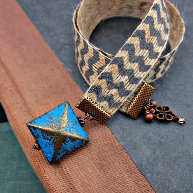 Beaded Natural Jute Chevron Ribbon Bookmark with Distressed Metal Accents: Gradient - product images  of