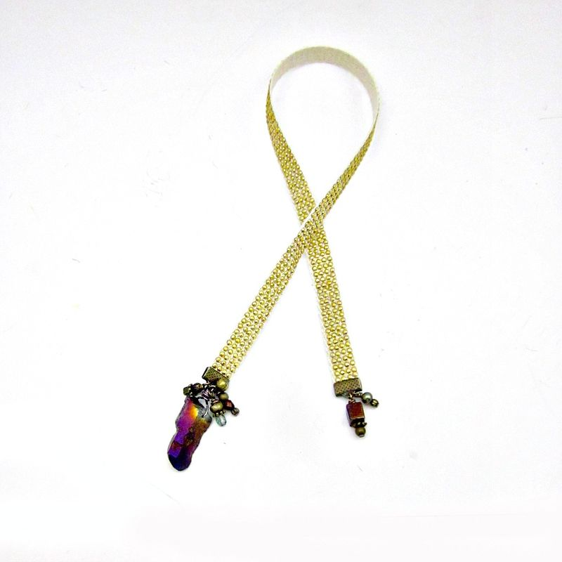 Gold Studded Cream Ribbon Bookmark with Purple Druzy Agate Crystal and Bead Accents: Geode - product images  of