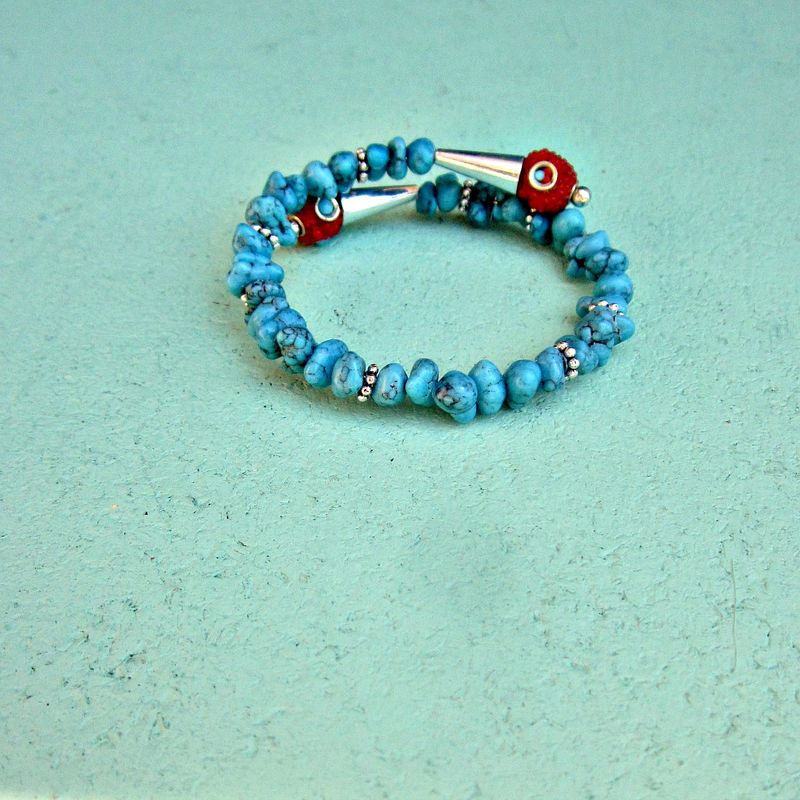 Blue Howlite and Red Kashmiri Tribal Beaded Cuff Bracelet with Accents: Kada - product images  of
