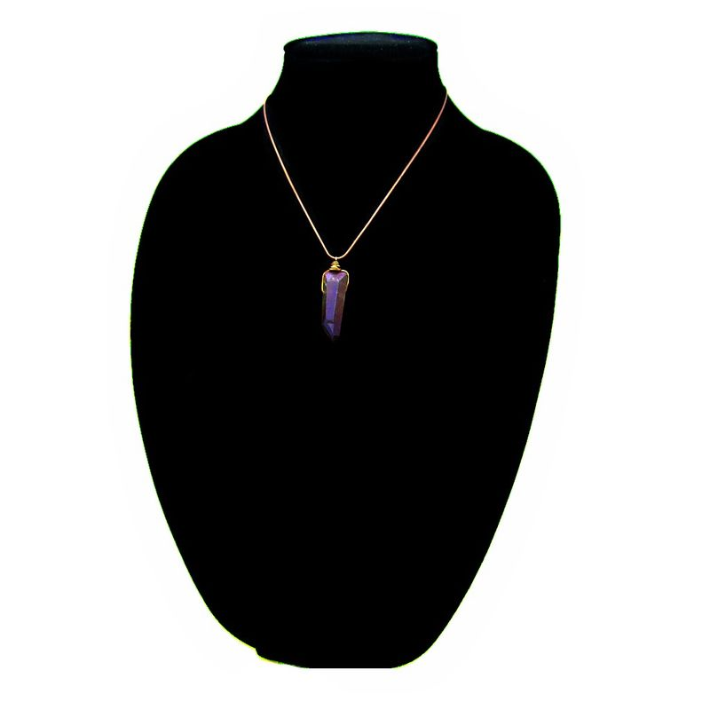 Wire Wrapped Purple Druzy Quartz Crystal Pendant on Rustic Copper Snake Chain Necklace: Pluto - product images  of