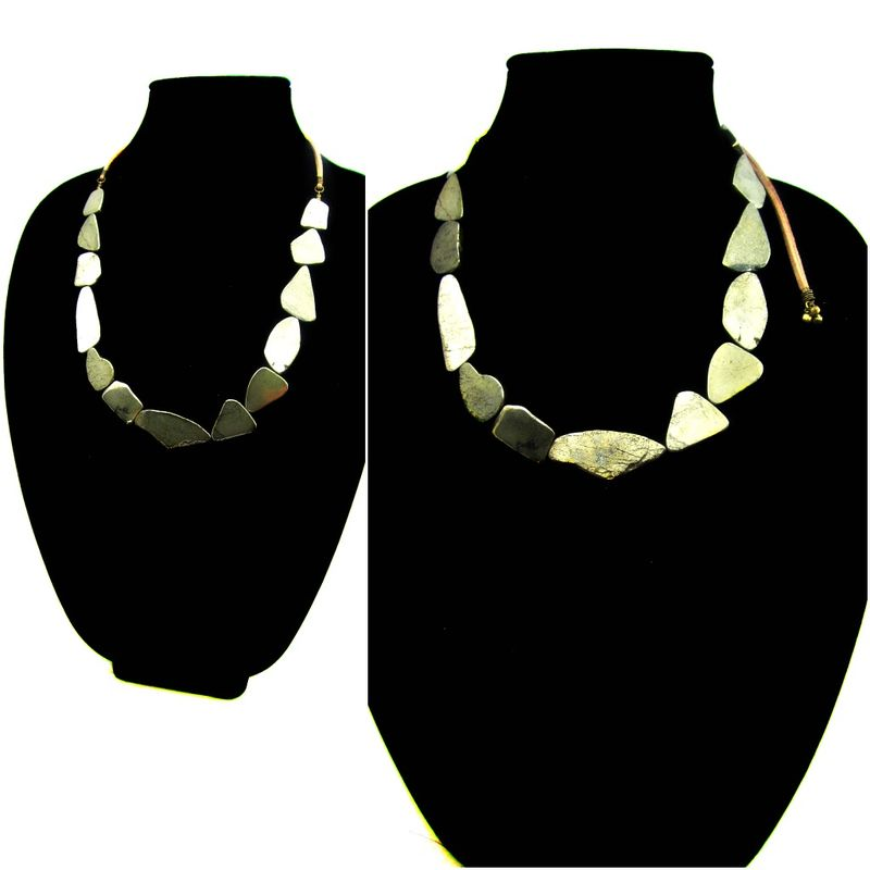 Freeform Pyrite Stone and Faux Suede Cord Bib Statement Necklace: Virtuoso - product images  of