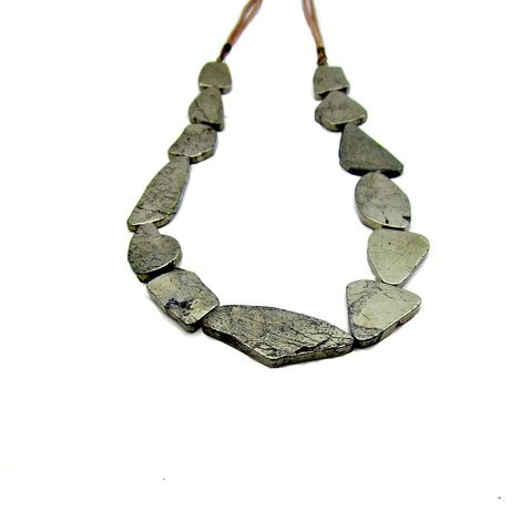 Freeform,Pyrite,Stone,and,Faux,Suede,Cord,Bib,Statement,Necklace:,Virtuoso,handmade gemstone necklace, pyrite bib necklace, bold beaded necklace, fools gold jewelry, gray and tan jewelry, earthy neutral boho necklace, chunky stone necklace