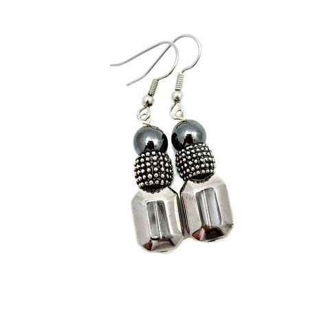 Hematite,and,Fire,Polished,Glass,Beaded,Silver,Dangle,Earrings:,Opera,beaded hematite dangle earrings, glass and hematite earrings, beaded silver hook earrings, elegant hematite stone jewelry, hematite accessories, fire polished glass earrings
