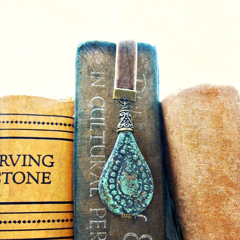 Beaded Brown Velvet Ribbon Bookmark with Rustic Clay Accent: Tulum - product images  of