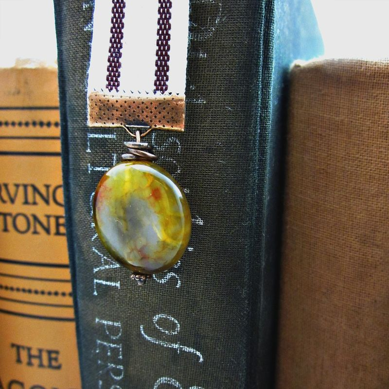 Beaded Burgundy Striped Cream Ribbon Bookmark with Agate Stone Accent: Maris - product images  of