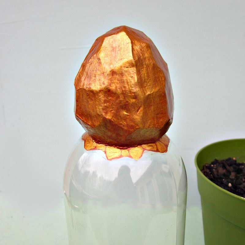 Faceted Gold Paper Mache Nugget Topped Cloche Jar: Ore - product images  of