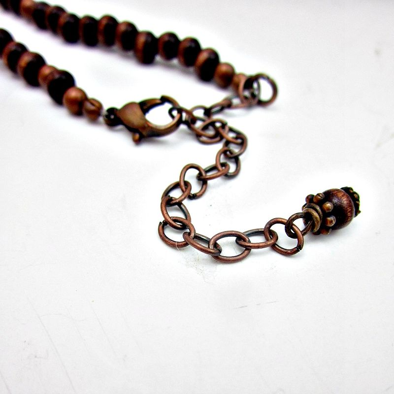 Gray Ceramic and Dark Wood Beaded Long Necklace with Smoky Quartz Pendant: Bailey - product images  of