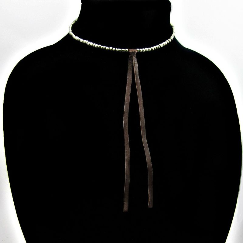 Dark Silver Glass Beaded Choker Necklace with Leather Bolo: Lasso - product images  of