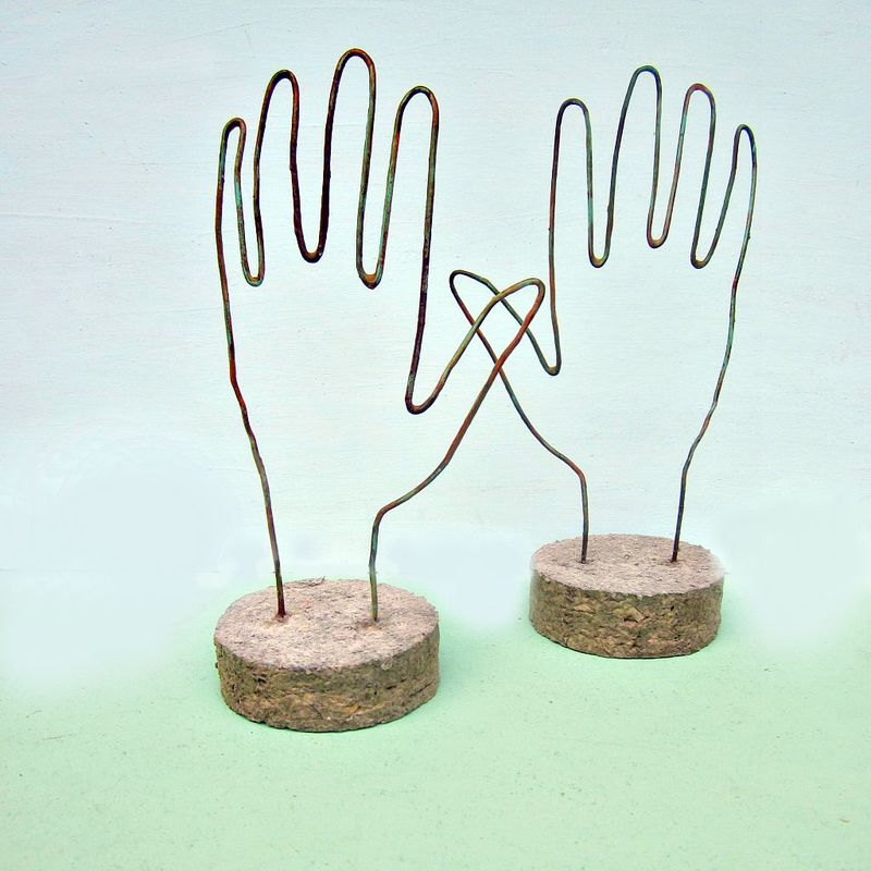 Salvaged Wire and Paper Hand Note Holder Sculpture: Helping Hand - product images  of