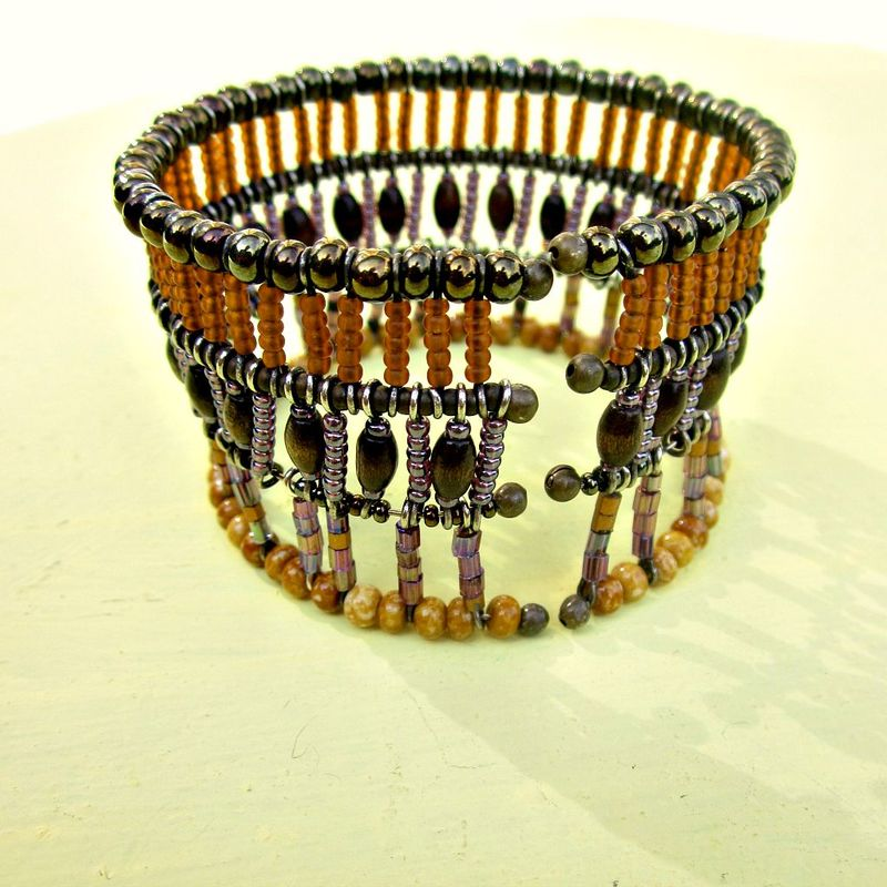 Adjustable Convertible Beaded Cage Cuff Bracelet: Nile - product images  of