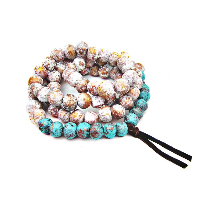 Super Long Paper Mache Bead Wearable Wall Decor Necklace: Shrine - product images  of