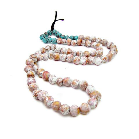 Super,Long,Paper,Mache,Bead,Wearable,Wall,Decor,Necklace:,Shrine,paper mache bead necklace, long necklace wall decor, chunky beaded necklace decor, salvaged necklace art, salvaged necklace wall hanging, papier mache jewelry, decorative paper mache objects
