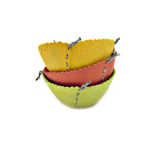 Set,of,Three,Handmade,Mini,Stitched,Paper,Mache,Bowls,handmade paper mache bowls, set of three colorful papier mache bowls, miniature salvaged paper bowls, papier mache vessels, paper mache storage, paper mache decor accents