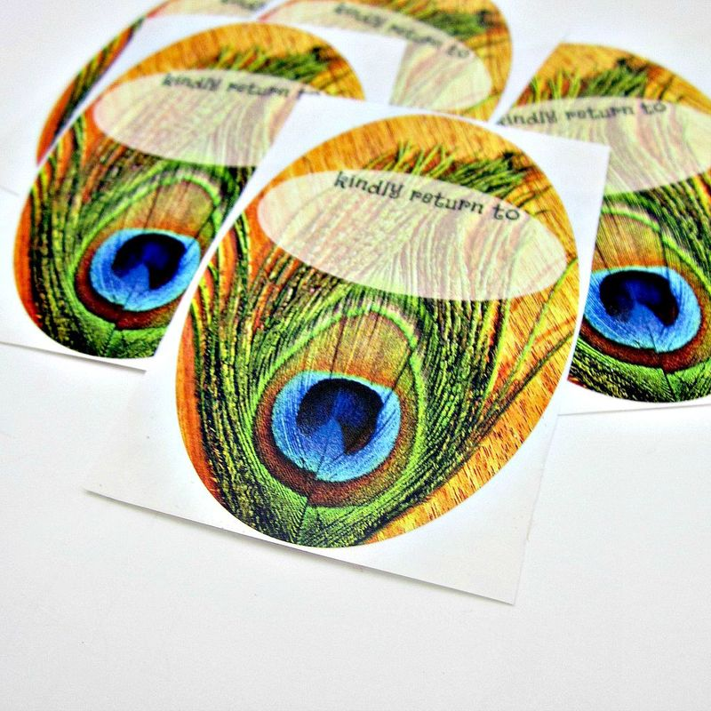 Art Bookplate ID Labels Featuring Original Photo Art: Courteous Peacock - product images  of