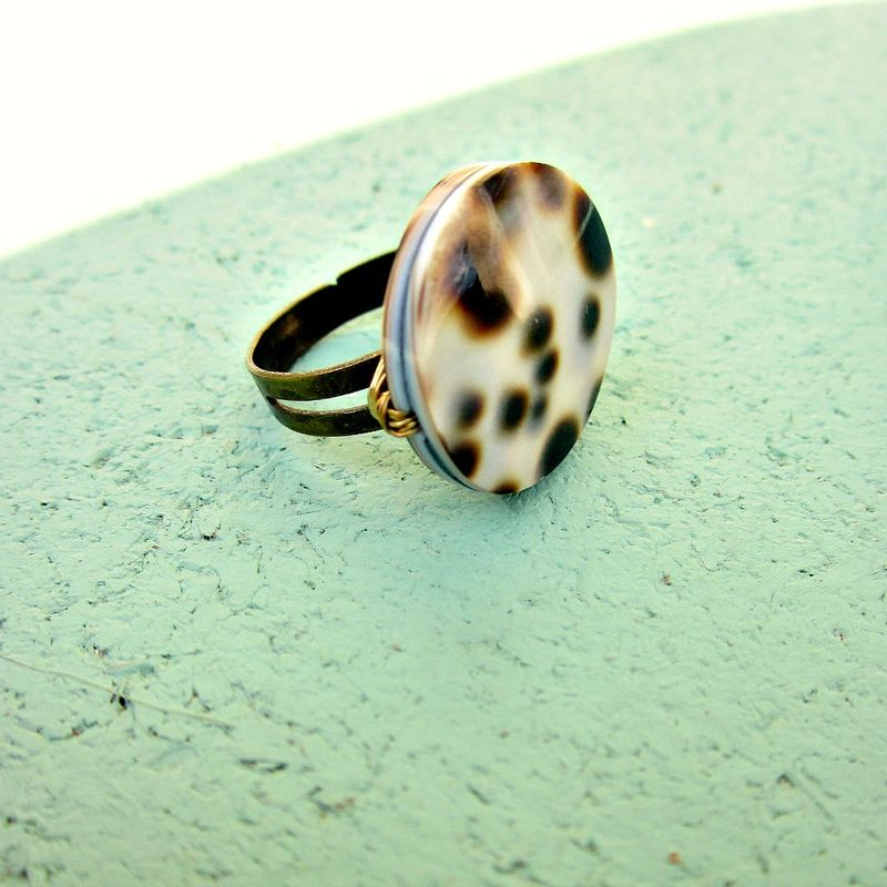 Mottled Natural Shell Adjustable Rustic Brass Wire Wrapped Ring: Moxy - product images  of