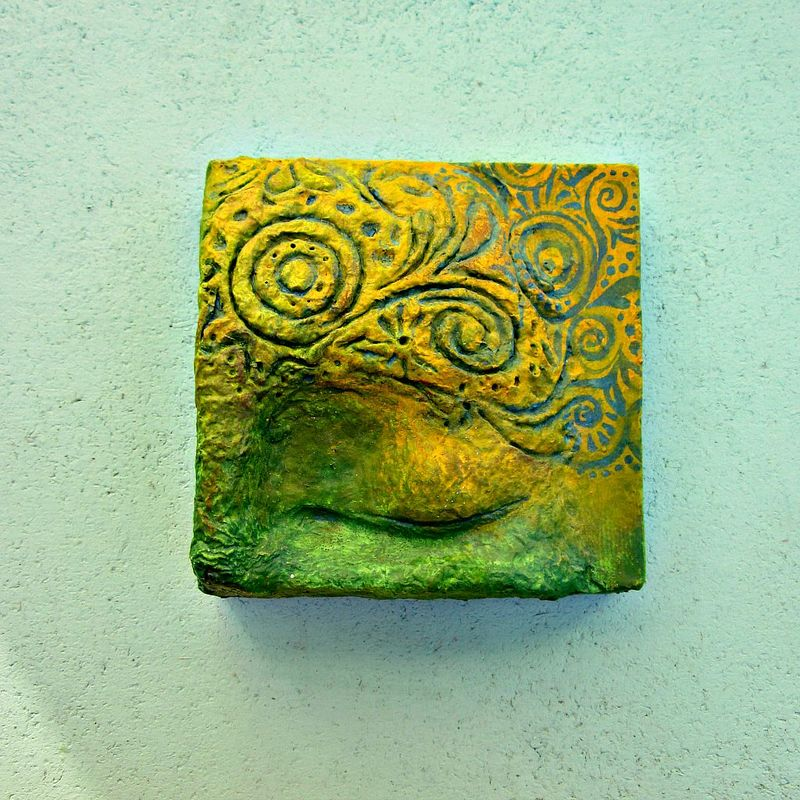 Green and Yellow Papier Mache Eye Sculpture on 4x4 Canvas: Thoughts Become Reality - product images  of