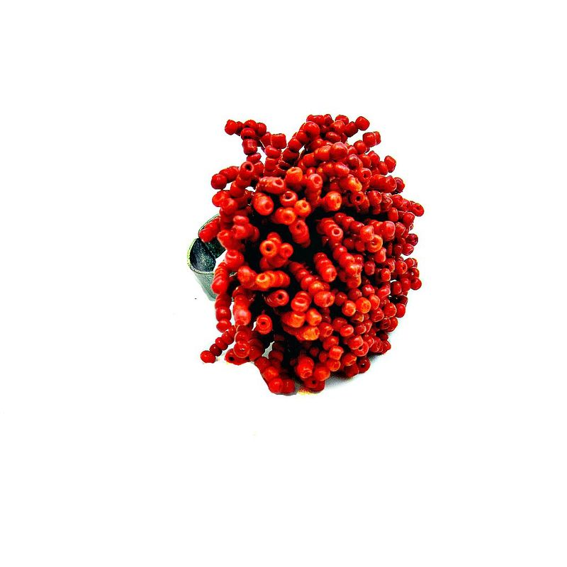 Beaded Red Burst Rustic Silver Adjustable Ring: Firecracker - product images  of