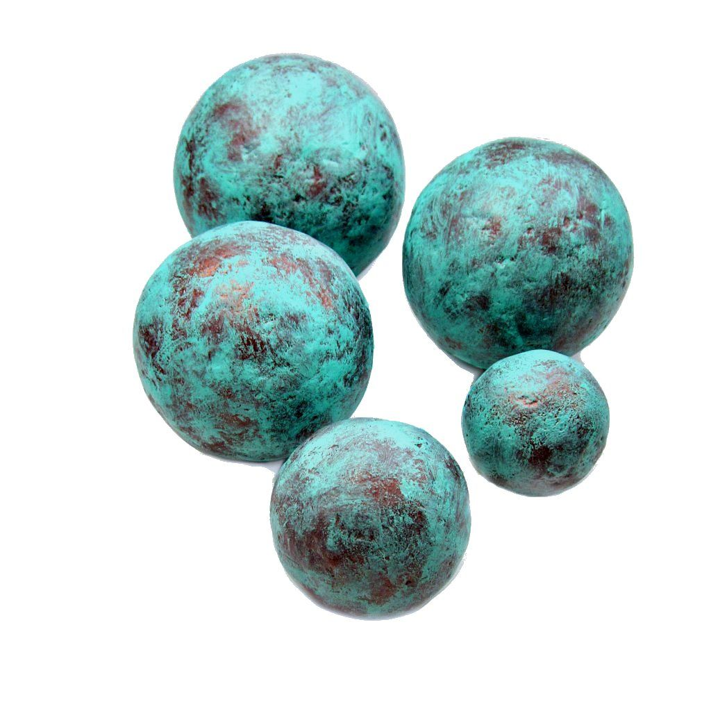 Copper And Turquoise Blue Handmade Papier Mache Accent Set Of Five Decorative Spheres In Orted Sizes Made To Order Created By Renée