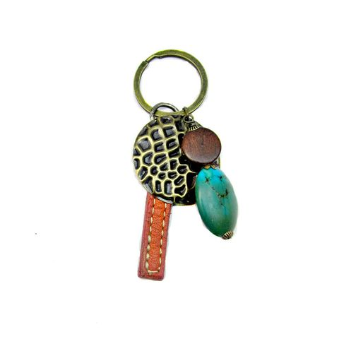 Big,Rustic,Brass,Keyring,with,Wood,Stone,and,Salvaged,Leather,Accents:,Gypsy,rustic brass keyring with wood stone salvaged leather, orange brown green brass, big cluster keyring, chunky beaded ensemble keyring, beaded purse charm