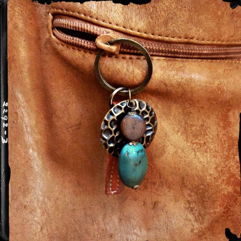 Big Rustic Brass Keyring with Wood Stone and Salvaged Leather Accents: Gypsy - product images  of