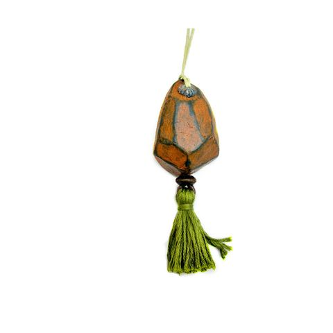 Faceted,Orange,Paper,Mache,Ornament,with,Green,Tassel,paper mache sculpture, handmade paper mache accents, recycled home decor, paper mache Christmas tree ornament, recycled paper ornaments, recycled holiday decor accents, eco friendly Christmas decoration, paper mache door flair