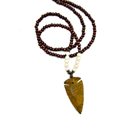 Long,Wood,and,Glass,Beaded,Necklace,with,Carved,Quartz,Arrowhead,Pendant:,Leopold,long beaded arrow head pendant necklace, wood beaded spear pendant necklace, double wrap pendant necklace, wood and quartz necklace, arrow head jewelry