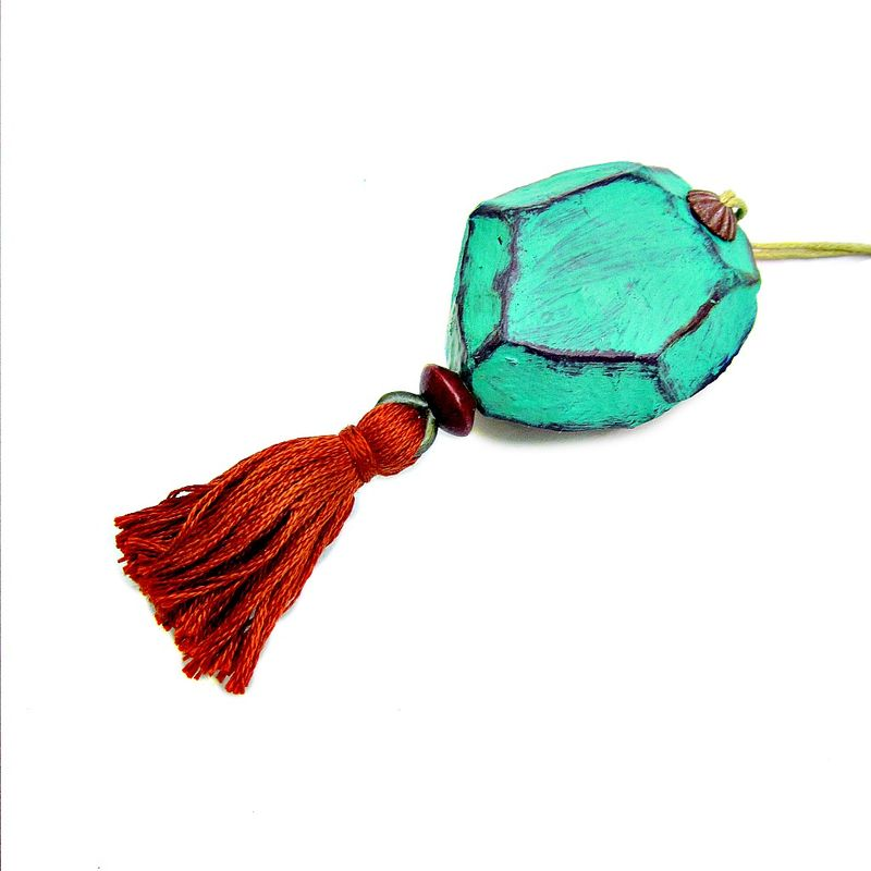 Faceted Turquoise Paper Mache Nugget Ornament with Orange Tassel - product images  of