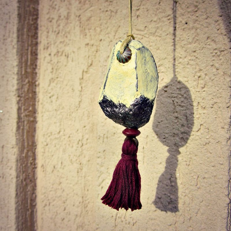 Faceted Cream Paper Mache Druzy Nugget Ornament with Burgundy Tassel - product images  of