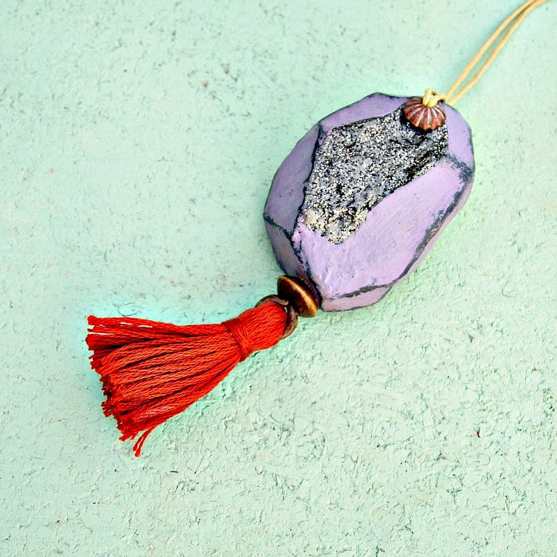 Faceted Lavender Paper Mache Druzy Nugget Ornament with Orange Tassel - product images  of
