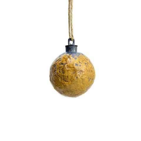 Handmade,Crackled,Yellow,Paper,Mache,Ornament:,Curry,papier mache, handmade paper mache accents, recycled home decor, paper mache Christmas tree ornament, recycled paper ornaments, recycled holiday decor accents, eco friendly Christmas decoration, crackled paper mache ornament
