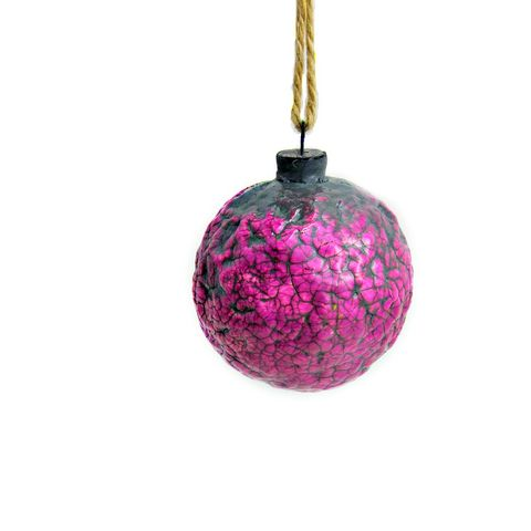 Handmade,Crackled,Fuschia,Paper,Mache,Ornament:,Sugarplum,pink ornament, papier mache, handmade paper mache accents, recycled home decor, paper mache Christmas tree ornament, recycled paper ornaments, recycled holiday decor accents, eco friendly Christmas decoration, crackled paper mache ornament