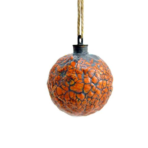 Handmade,Crackled,Orange,Paper,Mache,Ornament:,Saffron,orange ornament, papier mache, handmade paper mache accents, recycled home decor, paper mache Christmas tree ornament, recycled paper ornaments, recycled holiday decor accents, eco friendly Christmas decoration, crackled paper mache ornament