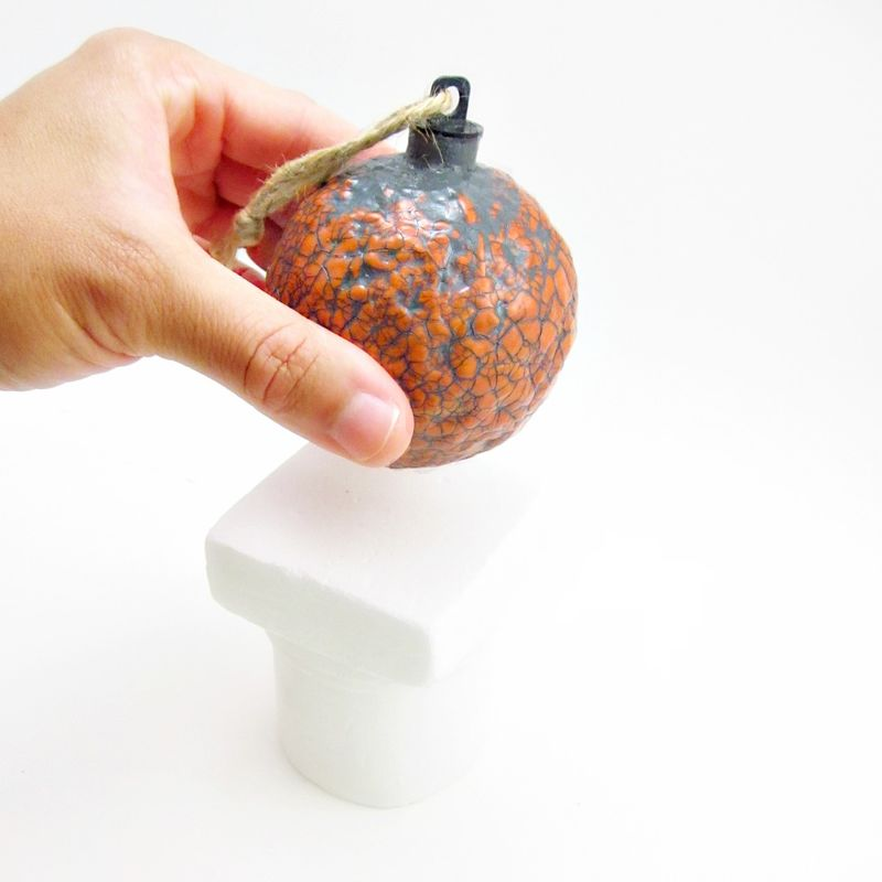 Handmade Crackled Orange Paper Mache Ornament: Saffron - product images  of