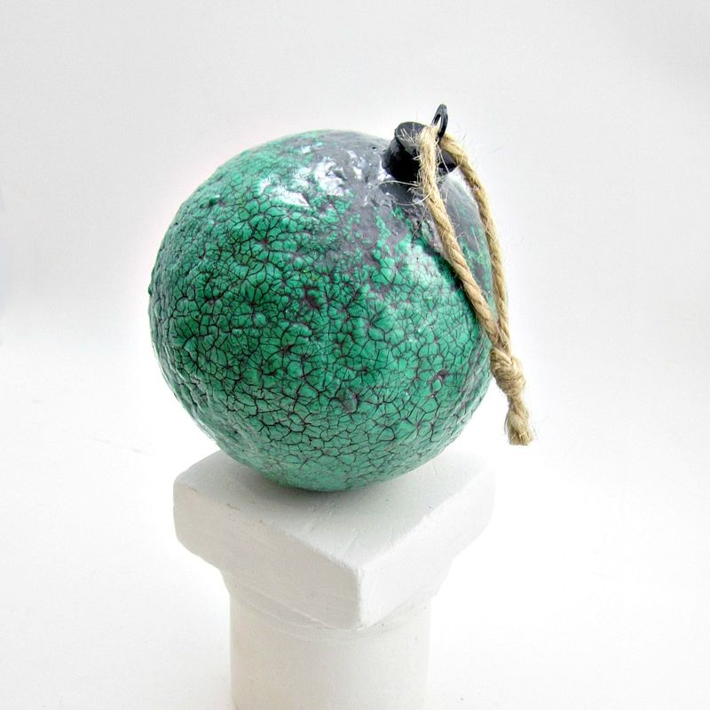 Handmade Crackled Turquoise Green Paper Mache Ornament: Sage - product images  of