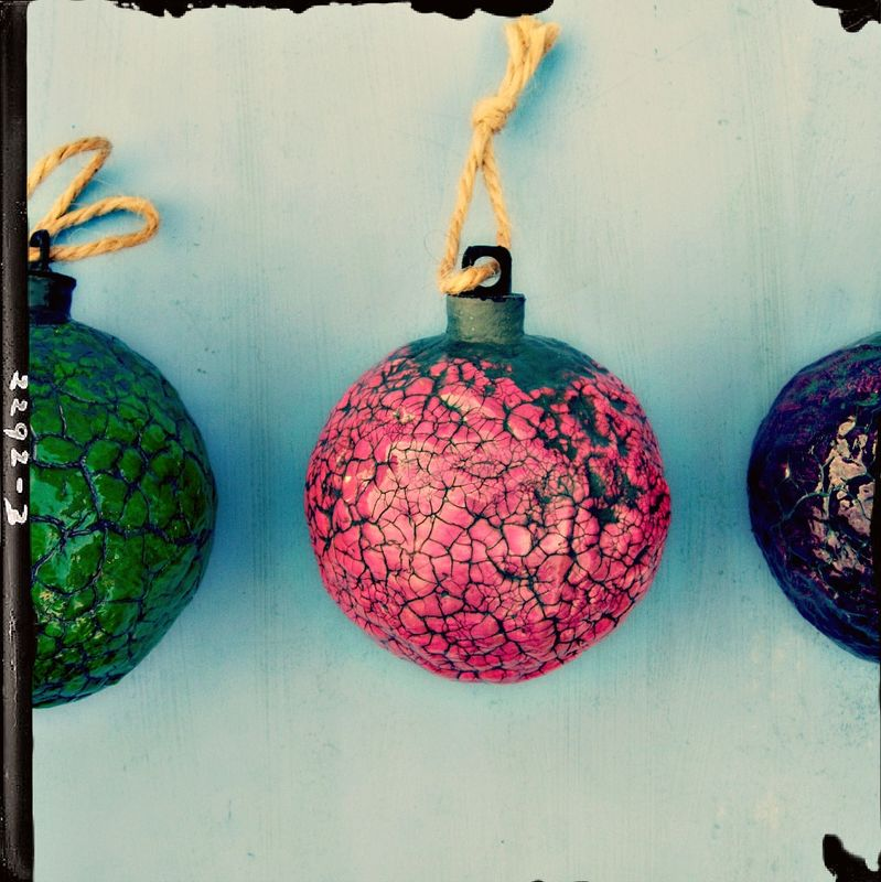 Handmade Crackled Fuschia Paper Mache Ornament: Sugarplum - product images  of