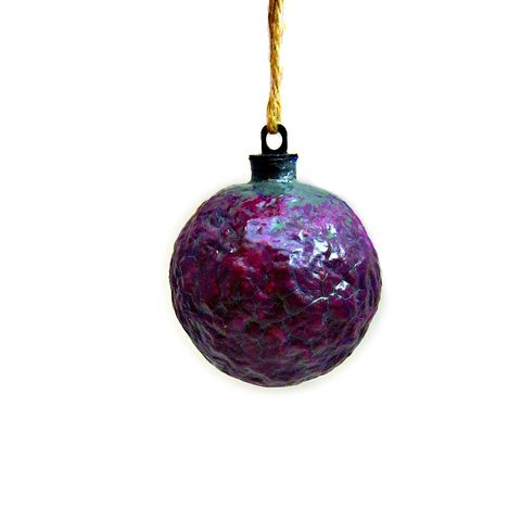 Handmade,Crackled,Purple,Paper,Mache,Ornament:,Liquer,purple ornament, papier mache, handmade paper mache accents, recycled home decor, paper mache Christmas tree ornament, recycled paper ornaments, recycled holiday decor accents, eco friendly Christmas decoration, crackled paper mache ornament