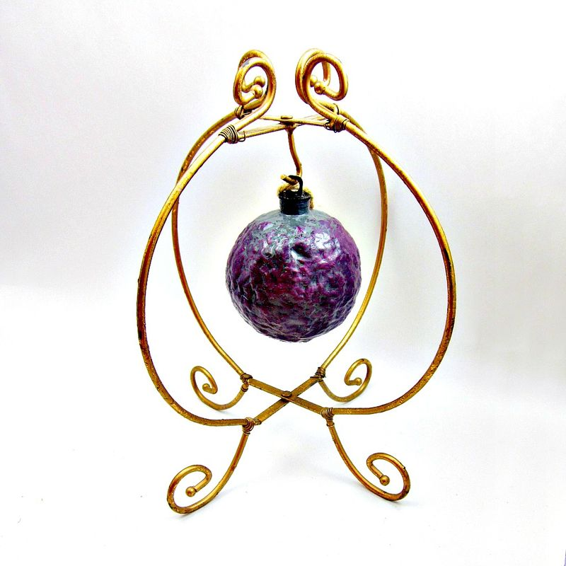 Handmade Crackled Purple Paper Mache Ornament: Liquer  - product images  of