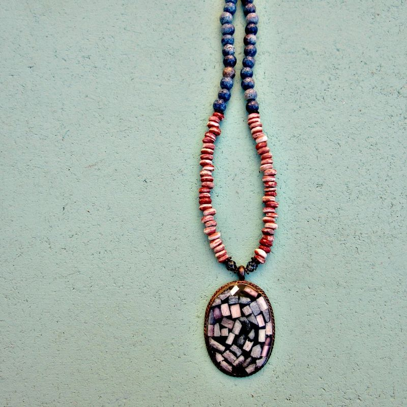 Long Ceramic Wood and Shell Beaded Toggle Clasp Necklace with Shell Inlay Pendant: Janvier - product images  of