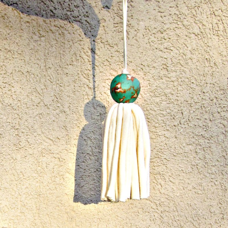 Salvaged Cream Fiber Tassel with Big Turquoise Orange Paper Mache Bead: Randolph - product images  of