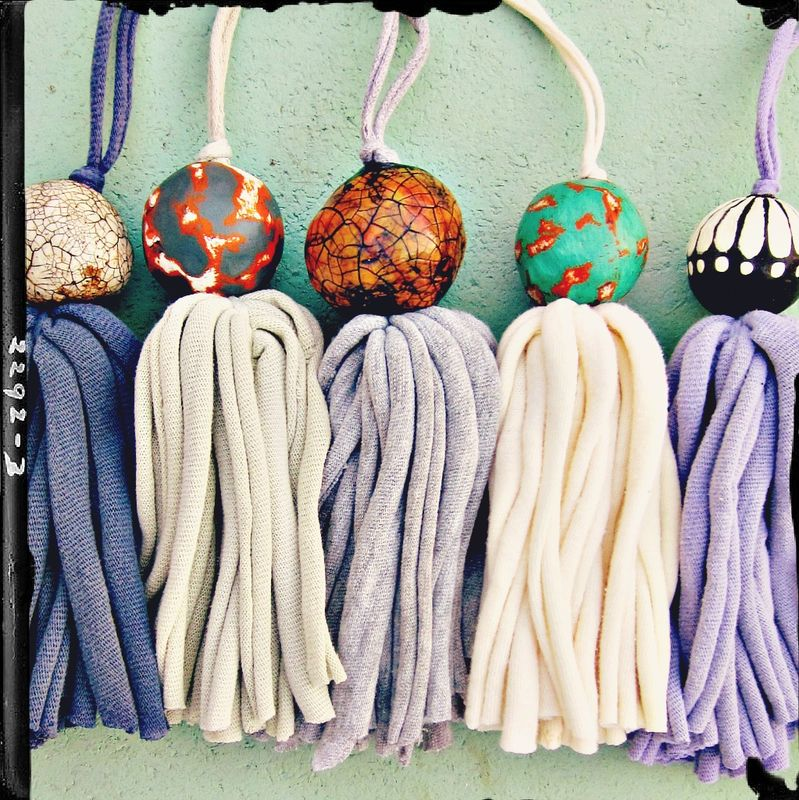 Salvaged Slate Fiber Tassel with Big Crackled Paper Mache Bead: Sohmer - product images  of