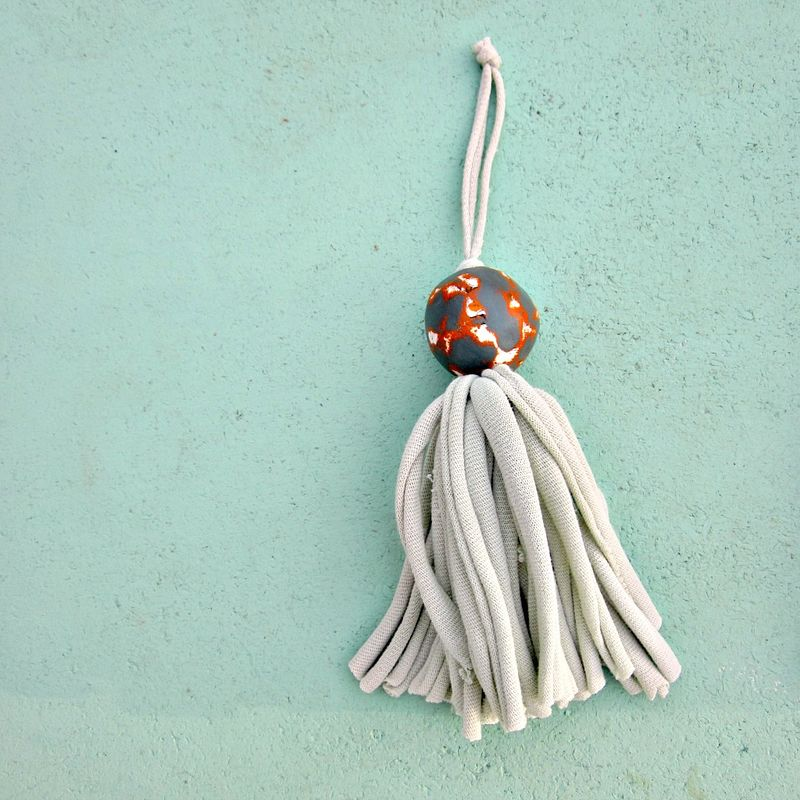 Salvaged Light Green Fiber Tassel with Big Gray Orange Paper Mache Bead: Griffin - product images  of