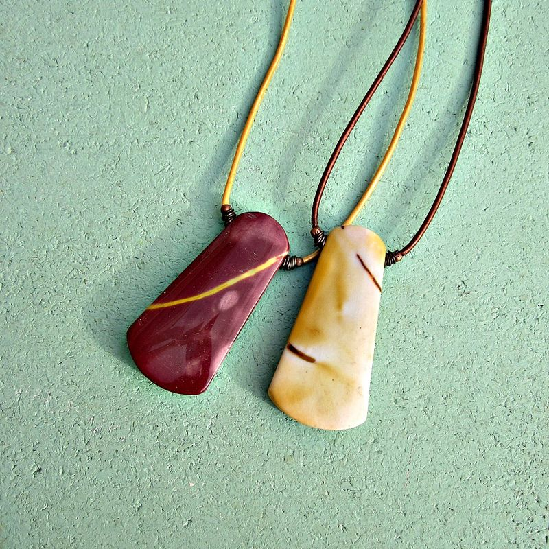Adjustable Gold Leather Cord Necklace with Red Mookaite Slab Pendant - product images  of
