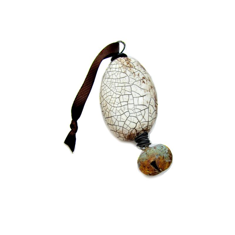 Crackled White Paper Mache Lozenge Ornament with Rustic Jingle Bell: 1942  - product images  of