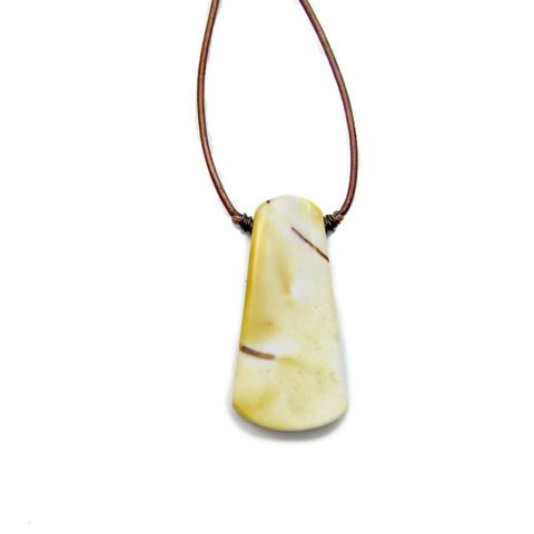 Adjustable,Copper,Leather,Cord,Necklace,with,Yellow,Mookaite,Slab,Pendant,mookaite jasper pendant necklace, adjustable leather cord necklace, leather and stone necklace, cream and copper stone necklace, healing jasper jewelry, white jasper necklace